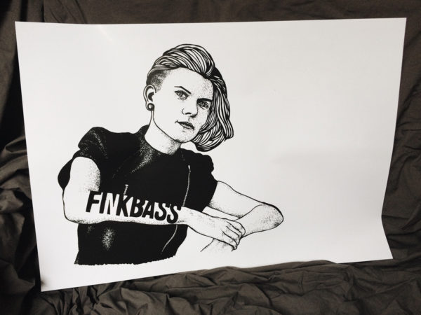 Finkbass' white poster with black print showing Laura's portrait and logo in a dotwork design