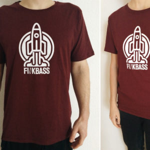 Finkbass' red shirt showing a white print of a spaceship during liftoff and the Finkbass logo