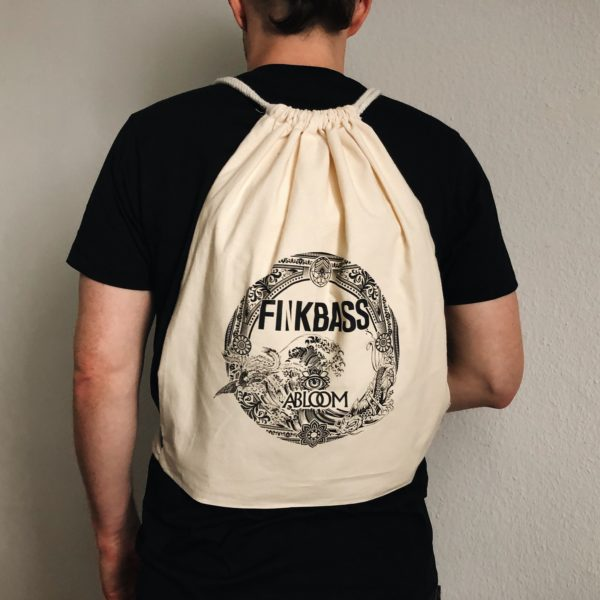Finkbass' off white gymbag showing a black print of the Finkbass Abloom album cover