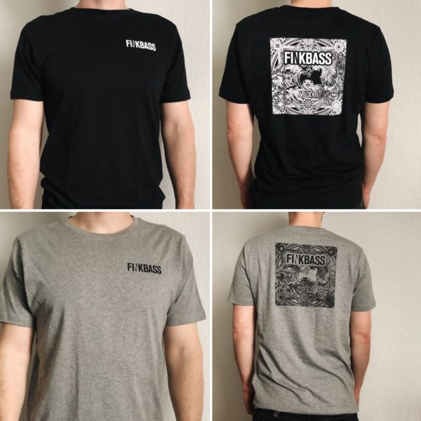 Finkbass' grey and black shirts showing a black or white print of the Finkbass Abloom album cover on the back and the Finkbass logo at the front
