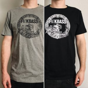 Finkbass' grey and black shirts showing a black or white print of the Finkbass Abloom album cover